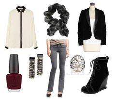 Grey pants, black jacket, white collar shirt, silver earrings, silver ring, black shoes, grey scarf, burgundy nail polish