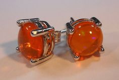 Orange Mexican Fire Opal EarringsNatural 8mm Mexican Fire