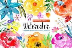 51 Watercolor floral elements by WatercolorS on @creativemarket