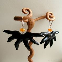 Earrings 369 Hand carved wooden earrings with natural baltic amber