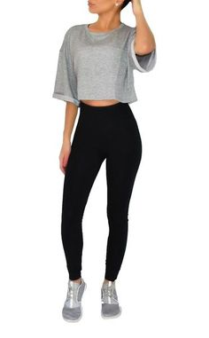 """This total basic """"Grey Cut"""" is so effortless but completely styling with it's lightweight material and oversize shape. Crop top features a round neckline with b"""