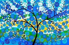 tree painting, tree paintings, tree art, large painting, large original,painting, paintings, blues, and,greens, yellow, white, big, large.