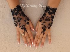 Lace glove, free ship black prom party bridesmaid occasion gift gothic wedding tattoo lace gauntlets Gypsy cuff lace tribal fusion