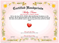 Footprints use our free template maker to create your own baby handprints use our free template printable certificate maker to create your own printable yadclub Gallery