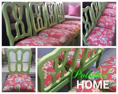 """#POLISHEDHomeEdition presents  4 French Country """"Upcycled"""" Dining Chairs, #applegreenandpink #tropicalparadise #chairsforsale metro Atlanta ::  $500 OBO :: For more info, call/text Travis at 404.610.5178"""