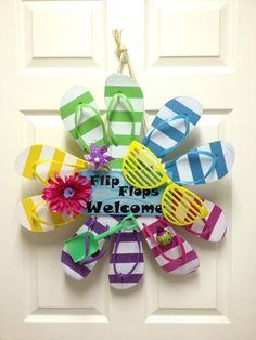 pinterest wreaths made from flip flops | Summer Flip Flop Wreath Striped by CarolineSuzanne on Etsy