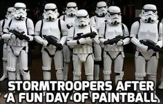 Stormtroopers after a day of paintball.