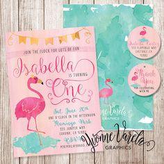 Printable invitations - flamingo invitation - watercolor invitation - flamingo- first birthday invitation - yvonne varela graphics