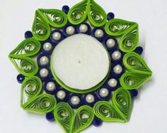 Tea light candle holder made from quilling strips by pHDesignsArt