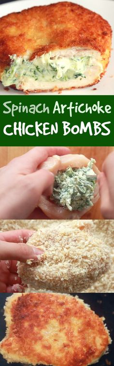 The Only Chicken Breasts You Should Be Eating Are Stuffed With Dip Bland chicken breasts? Not when they're breaded, fried, and stuffed with the world's best party dip. I Love Food, Good Food, Yummy Food, Tasty, Spinach Artichoke Chicken, Spinach Dip, Artichoke Dip, Baby Spinach, Chicken Bombs