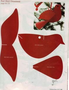 bird template - a cute christmas decoration - could also do in white for a… Christmas Paper Crafts, Christmas Projects, Holiday Crafts, Holiday Games, Paper Ornaments, Christmas Tree Ornaments, Christmas Decorations, Cardinal Ornaments, Cardinal Christmas Decor