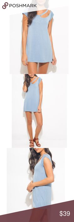 COMING SOON❣BLUE CUTOUT TUNIC/MINIDRESS Also comes in black. The ultimate boyfriend tee, the sexy tunic dress with cutout neckline is an absolute wardrobe essential for all year long! Made of ultra soft jersey, unlined, stretchy. 95% rayon, 5% spandex, Comes in S M L✅Price Firm,🚫No trades Waunda's Closet Tops Tunics