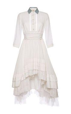 White Cotton Shirtdress With Open Back  by NATASHA ZINKO Now Available on Moda Operandi