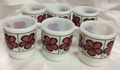 Fire King Anchor Hocking Vintage Set of 6 Violet Flower Stackable Coffee Mugs