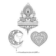 Ornaments mandala design by Marjorianne Kunst Tattoos, Body Art Tattoos, Small Tattoos, Tatoos, Mehndi Tattoo, Henna Tattoo Designs, Tattoo Sketches, Tattoo Drawings, Tattoo Mond
