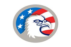 Bald Eagle Head USA Flag Oval Retro - Illustrations Illustration of an american bald eagle head viewed from the side with usa american stars and stripes flag in the background set inside oval shape done in retro style. #illustration  #BaldEagleHeadUSAFlag