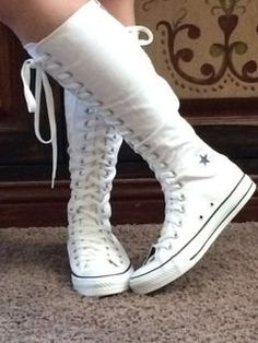bdaab72aba803 My 3rd pair of white knee high converse! I wear this usually at home and