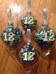 I made Seahawks ornaments... 12 man baby!