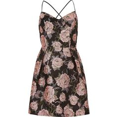 River Island Pink floral strappy skater dress (528.240 IDR) ❤ liked on Polyvore featuring dresses, vestidos, river island, pink, ri limited edition, sale, women, floral dresses, pink skater skirt and circle skirts