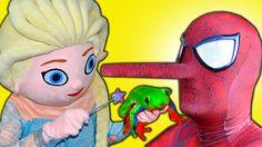 Spiderman & Frozen Elsa Get a PINOCCHIO NOSE! w/ Pink Spidergirl Candy &...