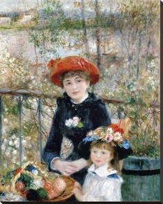 Stretched Canvas Print: The Two Sisters on the Terrace, 1881 by Pierre-Auguste Renoir : 40x32in