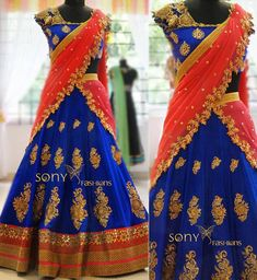 Pink is for girls and blue is for boys. Not anymore! Blue is trending amongst women as a choice for their Lehengas! From royal to navy and ink to light, the different variations of this shade can be paired with Red, Pink, Peach and Orange! Yes, they are all quintessential wedding colours! Now isn't that cool?! We have so many different variations of Lehengas where they have long motifs, bejewelled motifs, lace work, appliques and of course, a big gorgeous tassel! From simple yet elegant...