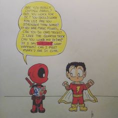 Lil Deadpool meets Captain Marvel…Sharma! #drawing #illustration #markers #Deadpool #CaptainMarvel #Shazam #MarvelComics #DCcomics #MakeYourselfLaugh #Chibi #Comic #ComicArt #MangaArt #SillyComics #ComicBooks #CrossOver #LoveWhatYouDo