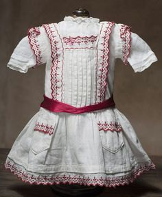 Antique Original Pinafore Dress with Swiss batiste blouse for french or german doll