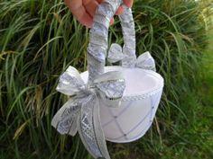 Winter Wedding Flower Girl Basket, Silver & White Wedding. $39.75, via Etsy.