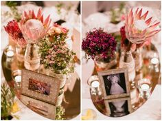 Wedding theme featuring Australian native flowers and chic photo frames on mirror centrepieces with candles and lace | PHOTO CREDIT: Thomas Stewart Photography