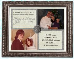 """* 25th Anniversary Then & Now Gift Print     * 8.5""""x11"""" or 11""""x14""""     * Photos are printed on the print     * Printed 4-Color Process on One side     * Printed on 100lb gloss cover stock     * Shipped ready to frame, frame is not included"""
