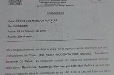 Notivargas/Juan González-Un presunto memorandum de la Secretaria de Salud, donde obliga a los profesionales de la medicina del area rural a acudir a las reuniones, asambleas, marchas y demás actividades políticas del gobierno, está circulando en los diferentes hospitales de la región. El documento al parecer es emitido por la Tcnel y Dra. Neiba Inocencia…