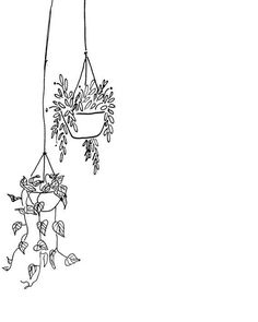 doodle art Black and White Hanging Plants Printable Bullet Journal Art, Bullet Journal Ideas Pages, Bullet Journal Inspiration, Doodle Inspiration, Doodle Drawings, Art Drawings Sketches, Easy Drawings, Easy Flower Drawings, Simple Doodles Drawings