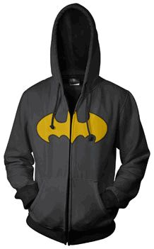 For the Boy! Batman Logo Print Charcoal Men's Zip-Up Hooded Sweatshirt Hoodie