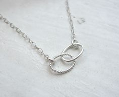 Infinitum - small sterling silver double oval links necklace - delicate jewelry - edor  gift for her. $24.00, via Etsy.