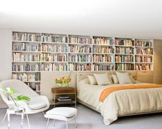 bedroom library, just reach up, grab a good book and snuggle up...