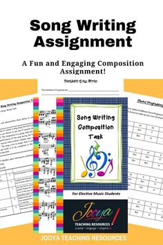 Song Writing Composition and Performance assignment by Jooya Teaching Resources. This assignment is best suited to middle school and older students. Assignment includes task description, chord progressions, guitar and keyboard chord charts, marking rubric