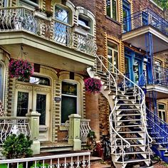 "Lack of space in Montreal forced architects to build these three-story high ""plexes"" with their twisty exterior stairways."