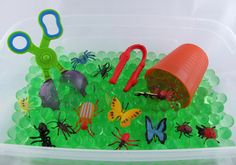 Bug Sensory Bin Duo with Water Beads and Green Jelly Goo- All Inclusive 2 in 1 Bin