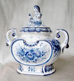 Russian Porcelain Gzhel Large Samovar