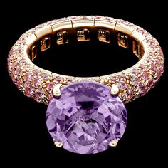 Mattia Cielo - Universo - Spring ring 750/1000 pink gold- pink sapphires ct. 2,55 and central amethyst ct. 6,15 LJWU01PMPA