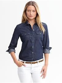 Denim Shirt + White Jeans + Animal Print Belt