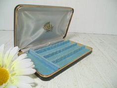 Retro ClamShell Black Leatherette with Gold Trim Travel Jewelry Case - Vintage Pierced Earrings Jewelry Box - Ivory Satin Blue Velvet Lining $19.00 by DivineOrders