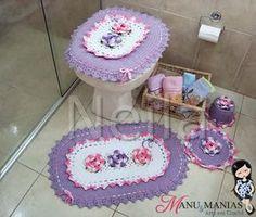 Jogo de Banheiro Oval Rosa e Lilás