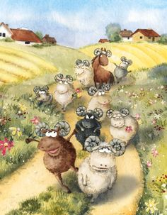 "Sheep by *asiapasek on deviantArt Traditional Art / Drawings / Illustration / Storybook	 ""Another poem for the youngest readers. It's about sheep marching down the road, each one in different mood (and one is a horse in disguise, as you can see). This is a very mixed media drawing: watercolors, acrylic paints and watersoluble pencils. And black marker to draw the eyes."""