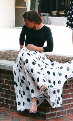 Chiffon multi-layer polka dot skirt with solid black elastic waist