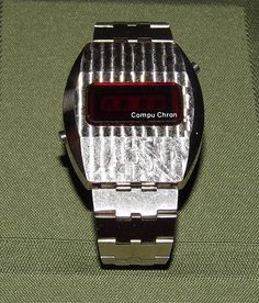 Vintage Compu Chron Silvertone Men's LED Watch, Case Made in Japan, Circa 1970s.