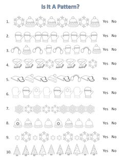 Free! Students determine if each line is a pattern in this winter-themed worksheet.