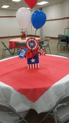 Super Hero Centerpieces - Visit to grab an amazing super hero shirt now on sale! Superhero Centerpiece, Birthday Party Centerpieces, Birthday Party Tables, 3rd Birthday Parties, Marvel Baby Shower, Superhero Baby Shower, Captain America Party, Captain America Birthday, Avengers Birthday