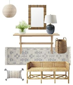 Entryway design with light wood console table, modern mirror, table lamp, woven chandelier, bench, wool runner rug, basket and pillow - jane at home - home inspiration - entryway ideas - entryway decor